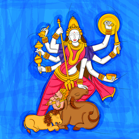 Abstract Statue painting of Indian Goddess Durga sculpture Illustration