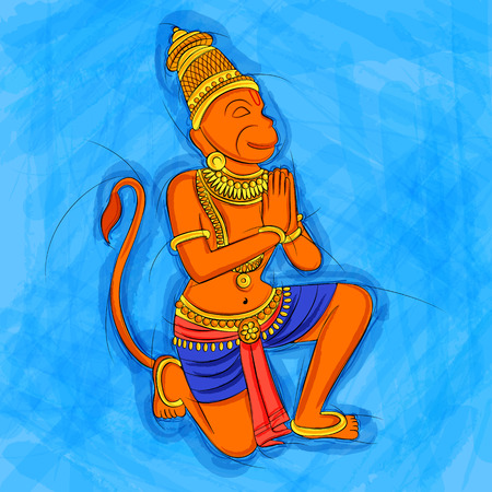 dharma: Abstract Statue painting of Indian God Hanuman sculpture Illustration