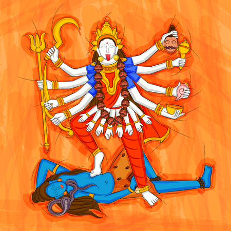 Abstract Statue painting of Indian Goddess Kali sculpture