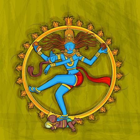 インドのシヴァの彫刻像の抽象絵画