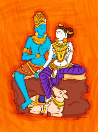 Abstract Statue painting of Indian Lord Shiva and Parvati sculpture
