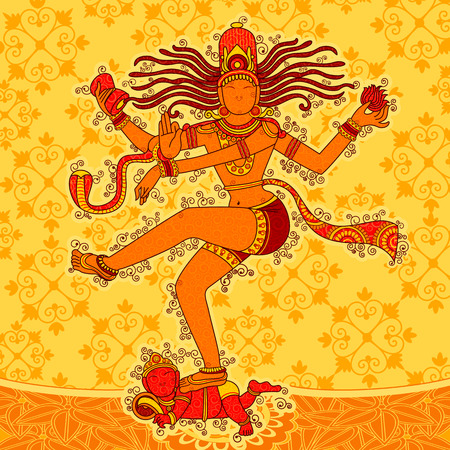Vector design of Vintage statue of Indian Lord Shiva Nataraja in India art style Illustration