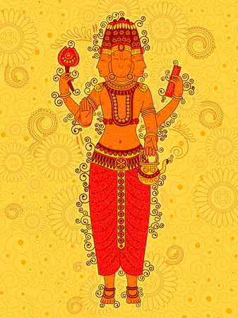 Vector design of Vintage statue of Indian Lord Brahma in India art style