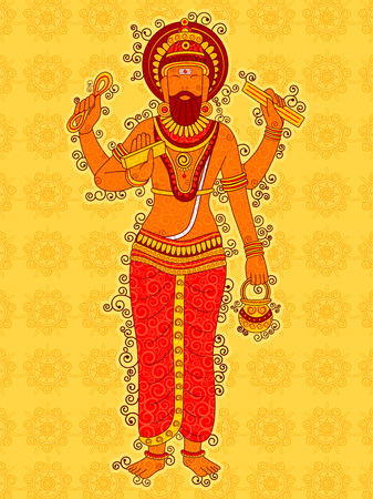 Vector design of Vintage statue of Indian God Vishwakarma in India art style