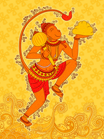 Vector design of Vintage statue of Indian Lord Hanuman in India art style Illustration