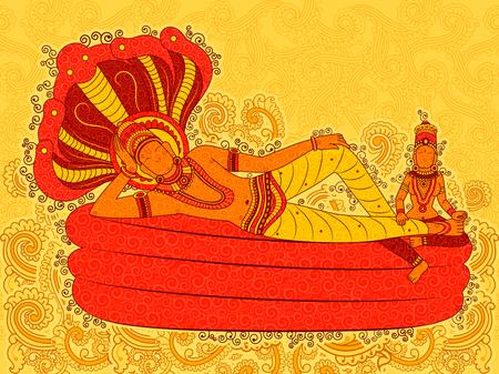 Vector ontwerp van Abstract Standbeeld schilderij van Indiase Heer in India kunststijl Stock Illustratie