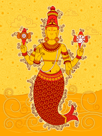 dharma: Vector design of Vintage statue of Indian Lord Matsya sculpture one of avatar from the Dashavatara of Vishnu in India art style Illustration