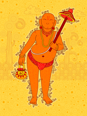 Vector design of Vintage statue of Indian Lord Vamana sculpture one of avatar from the Dashavatara of Vishnu in India art style