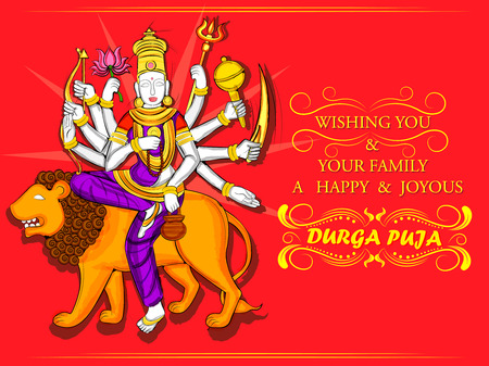 Vector design of Indian Goddess Durga sculpture for Durga Puja holiday festival of India in Dussehra Navratri