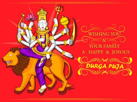 Vectorontwerp van Indisch Godin Durga-beeldhouwwerk voor Durga Puja-vakantiefestival van India in Dussehra Navratri