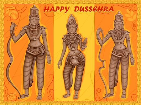 Statue of Indian God Rama, Laxmana and Sita for Happy Dussehra festival of India