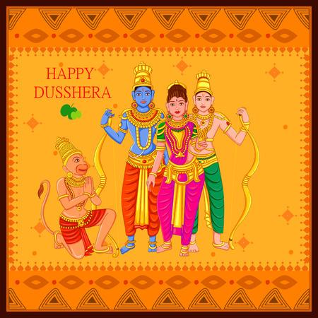 Vector design of Statue of Indian God Rama, Laxmana, Sita and Hanuman for Happy Dussehra festival of India Vector Illustration