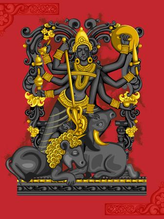 Vector design of Indian Goddess Durga sculpture for Durga Puja holiday festival of India in Dussehra Vijayadashami Navratri