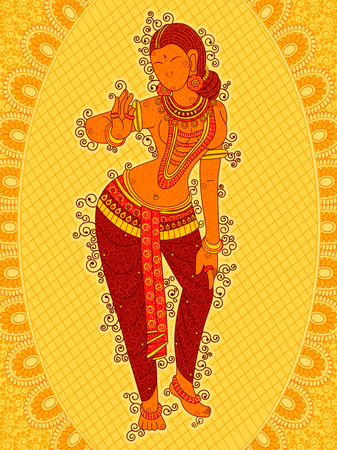 woman mirror: Vector design of Vintage statue of Indian female sculpture in floral art style Illustration