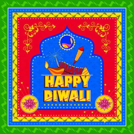 Happy Diwali India festival greeting background in Indian truck kitsch art style Illustration