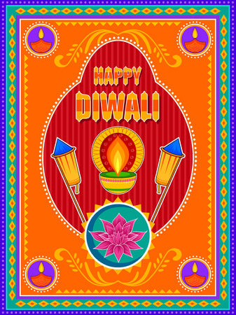 Vector design of Happy Diwali India festival greeting background in Indian truck kitsch art style Stock Vector - 86425230