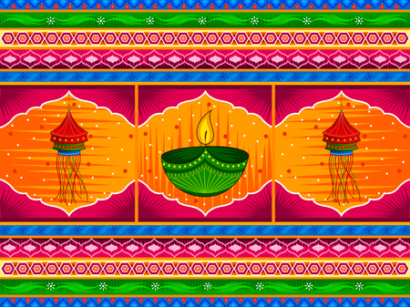 Vector design of Happy Diwali India festival greeting background in Indian truck kitsch art style Stock Vector - 86425242