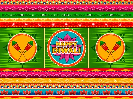 Vector design of Happy Diwali India festival greeting background in Indian truck kitsch art style Stock Vector - 86425244