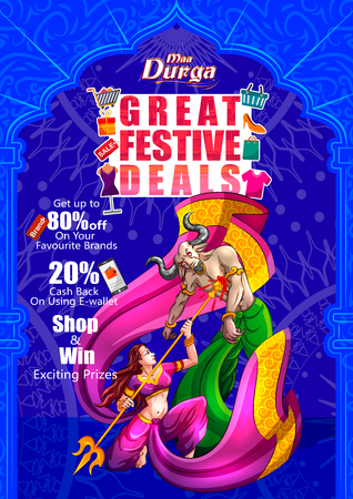 Happy Durga Puja India holiday festival deal promotion background. Vector illustration