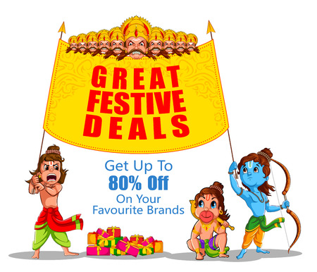 Lord Rama in Happy Dussehra Navratri celebration India holiday advertisement sale promotion offer background