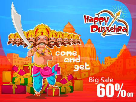 sacred trinity: Lord Rama in Happy Dussehra Navratri celebration India holiday advertisement sale promotion offer background