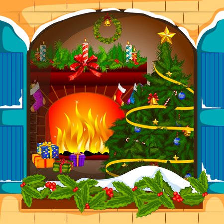 Decorated fireplace for Merry CHristmas and Happy New Year background
