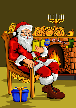 Vector design of Santa Claus with wishlist for Merry Christmas Holiday celebration background