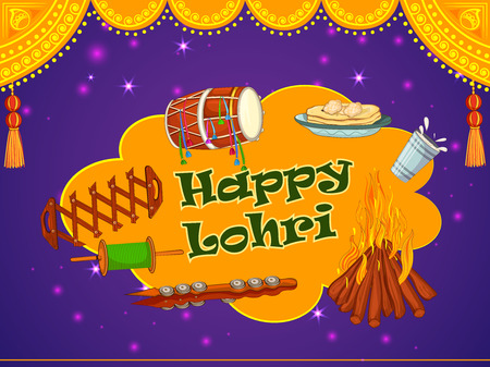 Vector design of harvest festival of Punjab, India Happy Lohri holiday background
