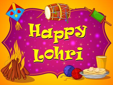 Harvest festival of Punjab  India Happy Lohri holiday background