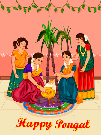 Happy Pongal religious traditional festival of Tamil Nadu India celebration vector illustration