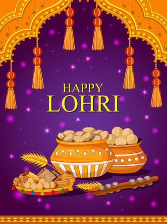 Happy Lohri holiday poster vector illustration Illustration