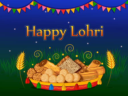 Happy Lohri holiday poster vector illustration Vettoriali