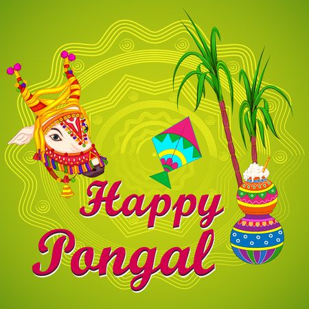 Happy Pongal religious traditional festival of Tamil Nadu India celebration vector illustration Stock Vector - 91957928