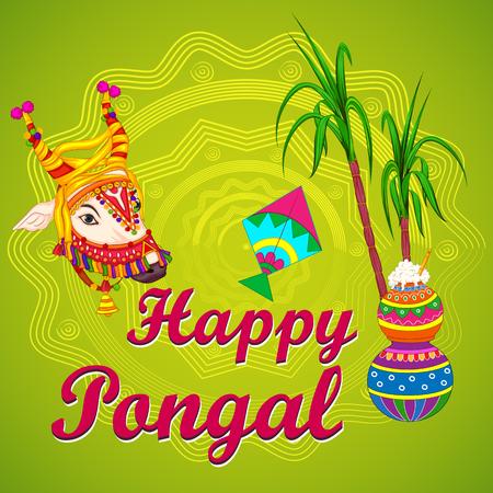 Happy Pongal religious traditional festival of Tamil Nadu India celebration vector illustration