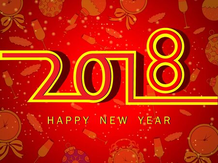 Vector design of Happy New Year 2018 seasons greeting background