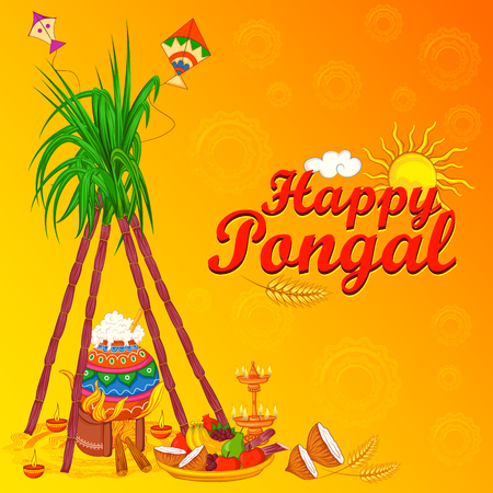 Happy Pongal religious traditional festival of Tamil Nadu India celebration background Stock Vector - 91957373