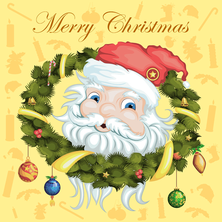 Vector design of Santa Claus in Merry Christmas and Happy New Year Holiday celebration background Çizim
