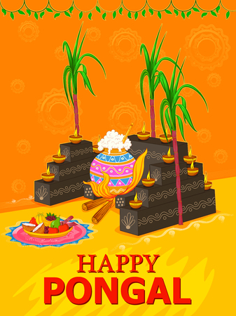 Happy Pongal religious traditional festival of Tamil Nadu India celebration background