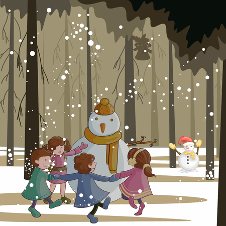 People celebrating with a snowman vector illustration