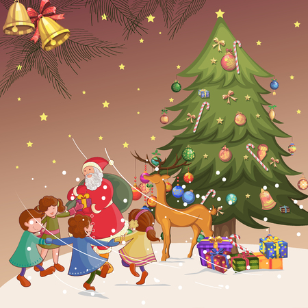 Vector design of Santa with gift in Merry Christmas Holiday celebration background