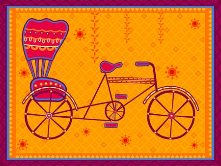 Vector design of cycle rickshaw transport in India desi folk art style