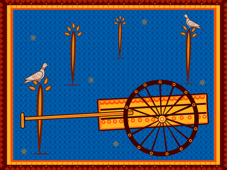 Vector design of Hand cart Thela transport in India desi folk art style