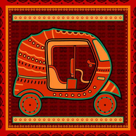 Vector design of auto rickshaw transport in India desi folk art style