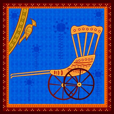 Vector design of Hand Pulled rickshaw transport in India desi folk art style