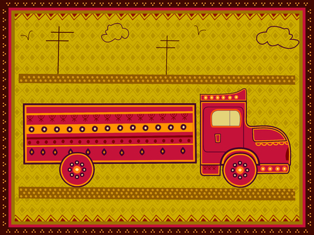 Vector design of Truck transport in India desi folk art style