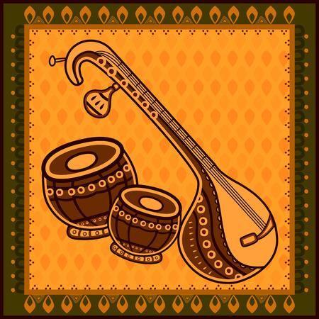 Vector design of Veena and Tabla Music instrument in India desi folk art style. Illustration