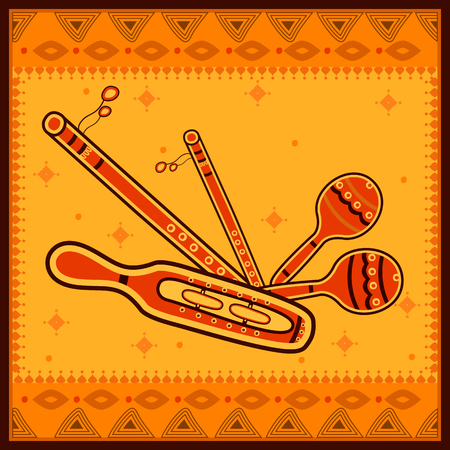 Vector design of Manjira and Rattle Music instrument in India desi folk art style Illustration