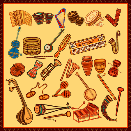 Vector design of Set of Music instrument in India desi folk art style Иллюстрация