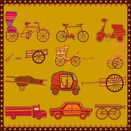 Set of transport in India desi folk art style.