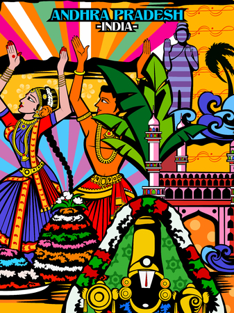 Vector design of colorful culutral display of State Andhra Pradesh in India